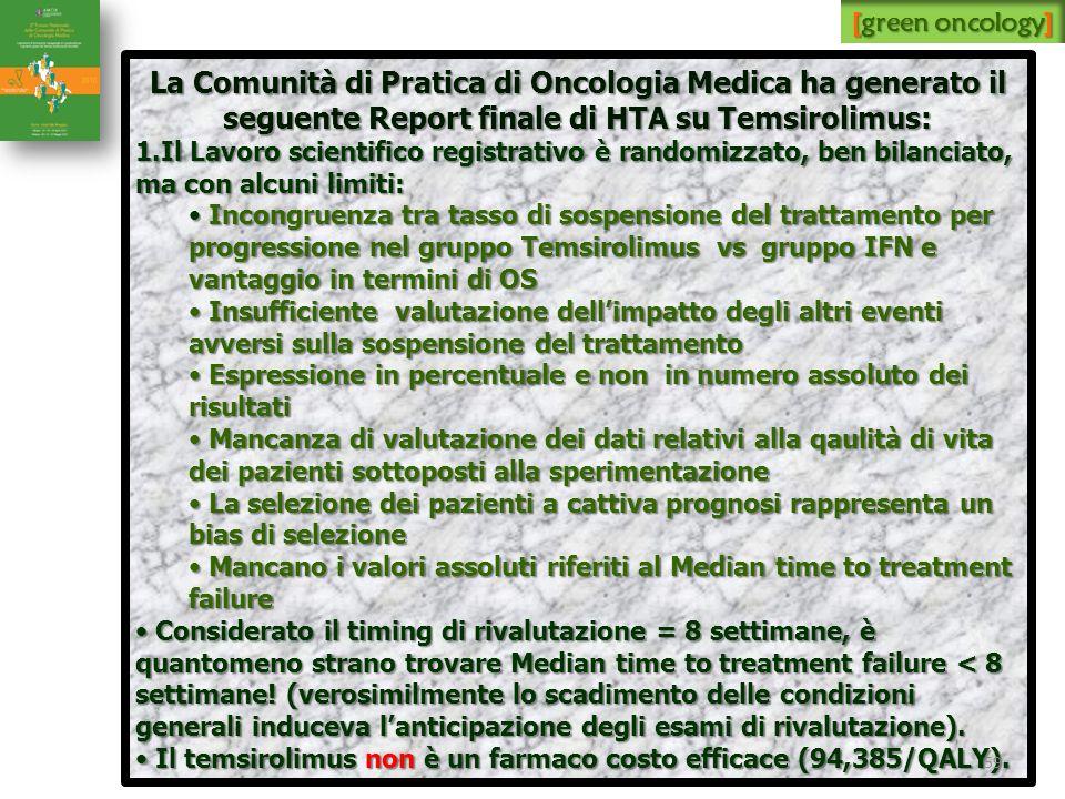 [green oncology] La Comunità di Pratica di Oncologia Medica ha generato il seguente Report finale di HTA su Temsirolimus:
